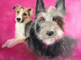 Acrylbild von zwei Hunden